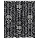 """100% Polyester Waterproof Dark Balck World Design Skull With Lacy Pattern Around Shower Curtain 60""""x72"""" Bathroom Decor,Shower Rings Included"""