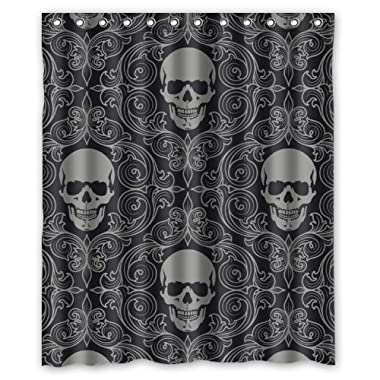 FMSHPON Four Black Skull With Lacy Pattern Around Waterproof Polyester Fabric Shower Curtain 60x72 Inches