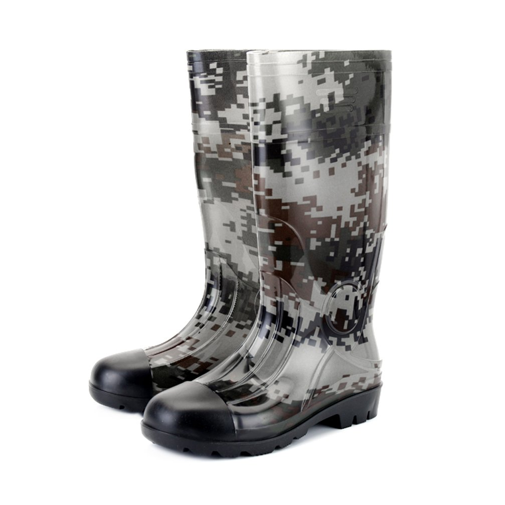 DragonTai Man Knee High Rubber Rainboots Waterproof Rubber Boots for Garden Man Rain Footwear Size 7.5 by DragonTai
