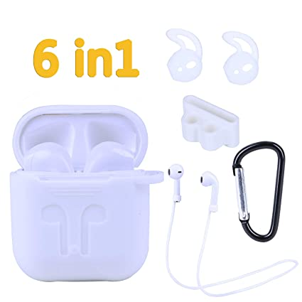 AirPods Case, ANDSTON 6 in 1 Airpods Accessories Kits Protective Silicone  Skins Compatible for Apple Air pods with Airpod Watch Band Holder/Ear