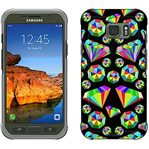 Samsung Galaxy S7 Active Case, Snap On Cover by Trek Epic Rainbow Diamonds on Black Slim Case Sales