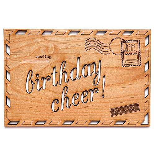 Birthday Cheer Laser Cut Wood Birthday Card (Greeting Card / Birthday Gift / Personalized Available) (Birthday Presents By Mail)