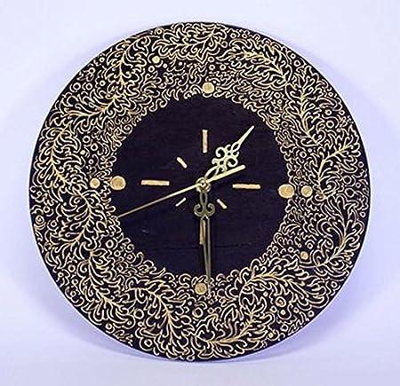 Handmade Wall Clock Quartz Fiberboard Black Gold Home Decor Accessories Amazon Co Uk Kitchen Home
