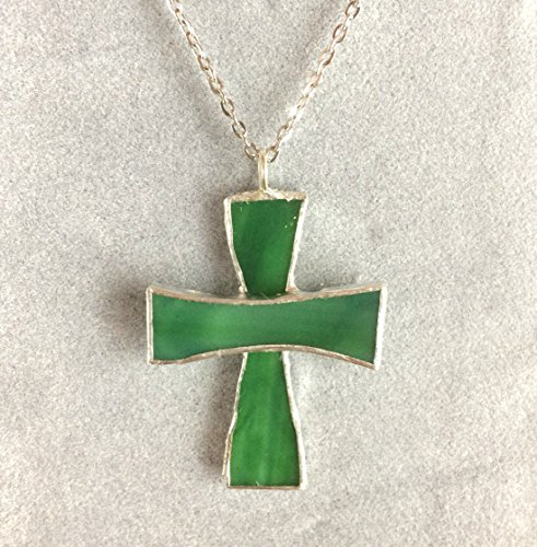 Cross Pendant (Green) - Stained Glass Necklace - Colorful Jewelry - Inspirational Gift