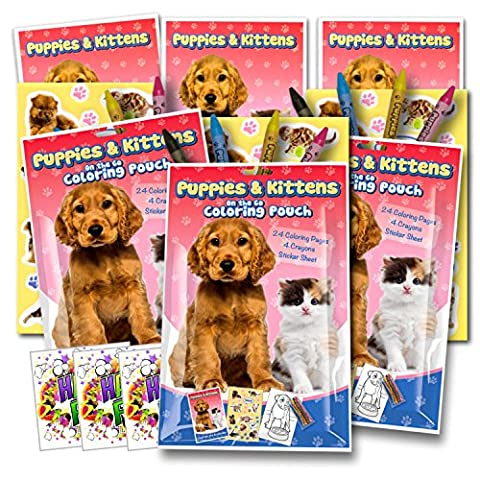 Puppies & Kittens Coloring Pack Party Favors with Stickers, Crayons and Coloring Activity Book in a Resealable Pouch ~ Plus Separately Licensed 3X3 Inch GWW Fun Stickers Included