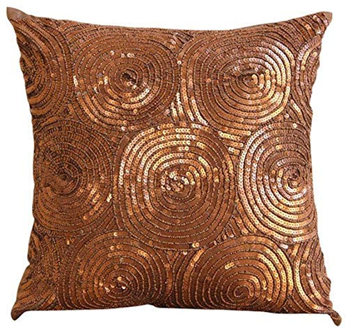Copper Pillow Covers 18x18 inches, Luxury Copper Pillows Cover, Spiral Sequins Antique Throw Pillows Cover, Square Silk Pillowcase, Geometric Contemporary Decorative Pillows Cover - Copper Swirls