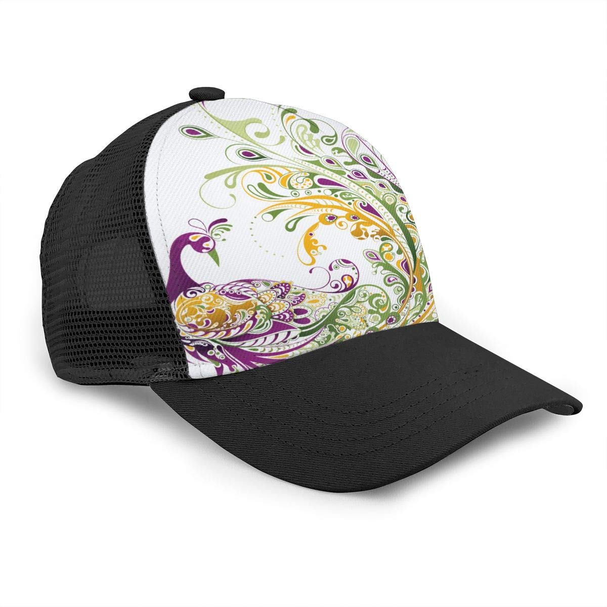 Co23@Cap Mens and Womens The Peacock Spread Its Tail Flat Baseball Hat Plain Trucker Hat for Unisex