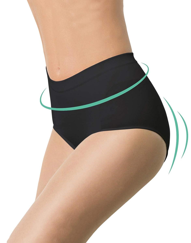 CALZITALY Mutande Contenitive Donna   Slip Senza Cuciture Modellante   Culotte Taglie Forti   Nero, Natural   2XL, 3XL, 4XL   Made in Italy INT0013