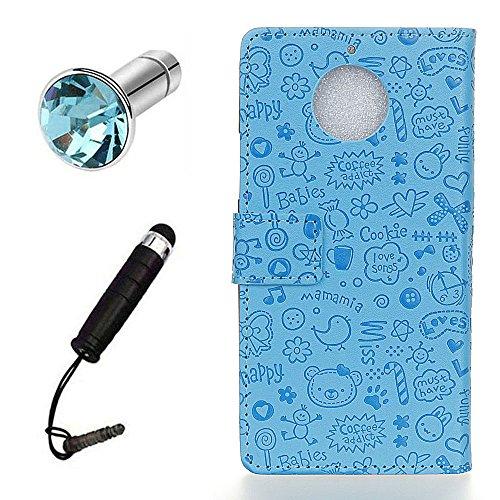 Lusee® PU Caso de cuero sintético Funda para Motorola Moto G6 Plus Cubierta con funda de silicona botón pequeña bruja rojo rosa pequeña bruja azul