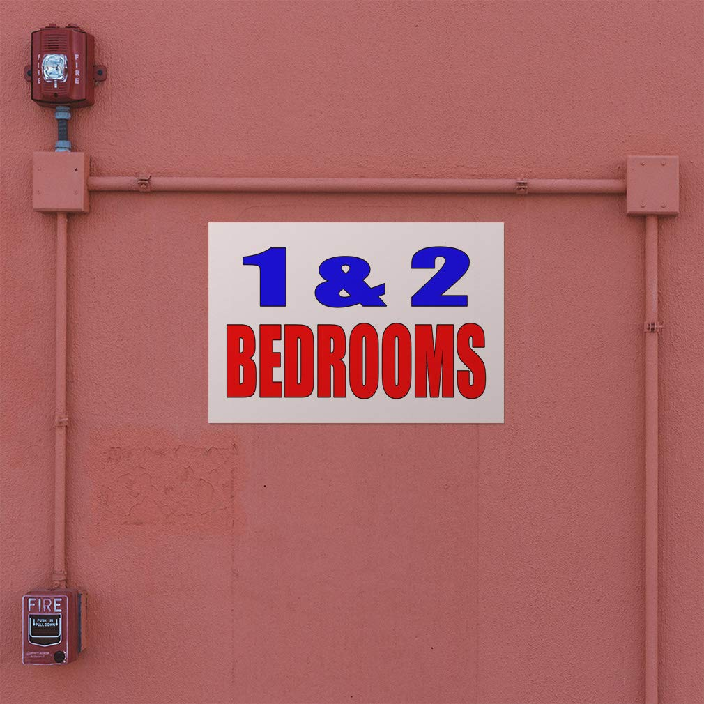 Set of 2 52inx34in Decal Sticker Multiple Sizes 1 and 2 Bedrooms White Blue Red Business Apartments Outdoor Store Sign White