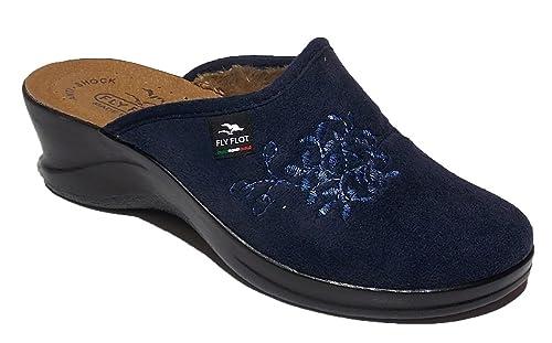 FLY FLOT Art 96880 Ciabatta pantofola invernale donna da casa in tessuto  nel colore blu. 04d27f0c1ff
