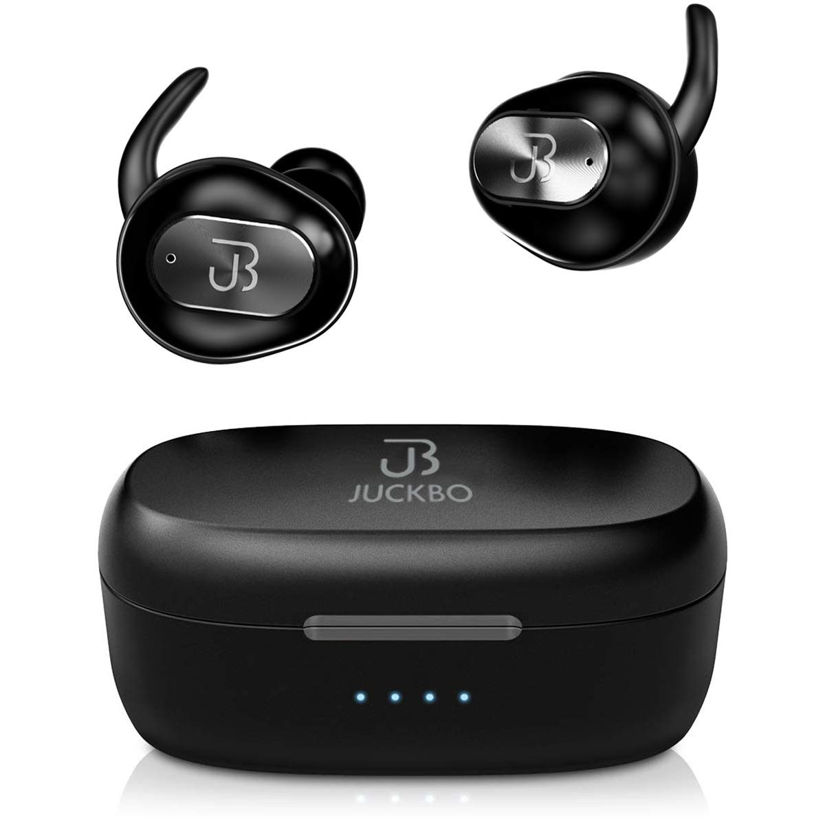 Wireless Earbuds,Bluetooth Headphones 5.0 Deep Bass HiFi Stereo Sound Earphones 16H Playtime with Charging Case and Built in Mic for Sports Running (Black) by Juckbo