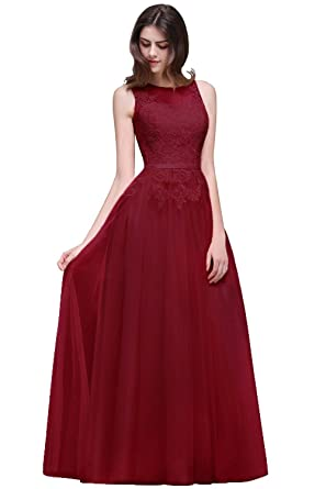 MisShow Sleeveless A Line Burgundy Lace Tulle Formal Evening Dresses,2