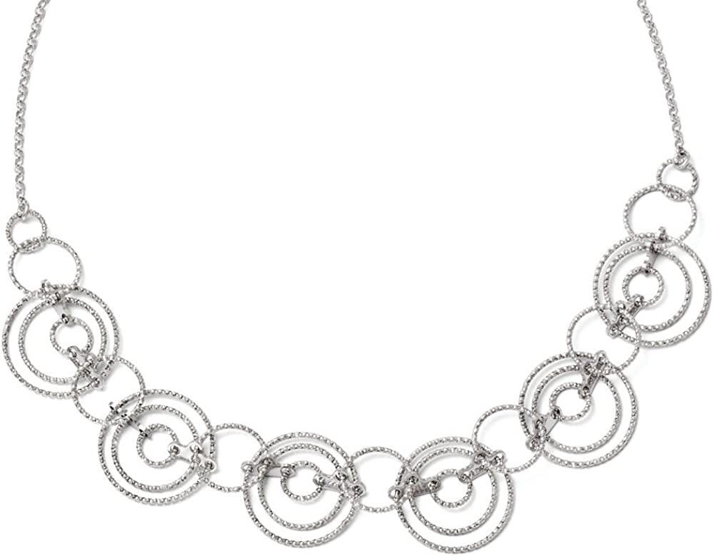 Black Bow Jewelry Adjustable Laser Cut Circle Link Necklace in Sterling Silver