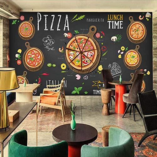 Wall Stickers Murals Custom Wall Mural Pizza Shop Abstract Pizza 3D Wallpaper Cafe Dessert Shop Western Restaurant Wall Painting Non-Woven -
