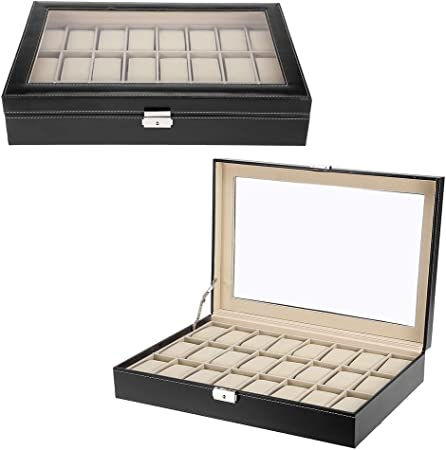 Zogin Estuche para Relojes, Caja con 24 Compartimentos para Relojes,joyería, Color Negro (Caja para 24 Relojes ...