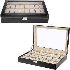 Zogin Estuche para Relojes, Caja con 24 Compartimentos para Relojes,joyería, Color Negro (Caja para 24 Relojes): Amazon.es: Hogar