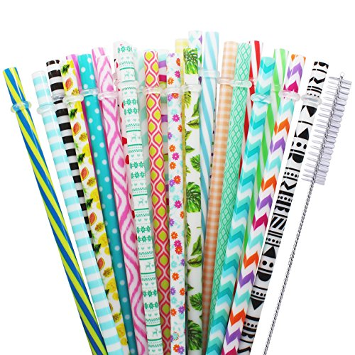 Reusable Straws 30 Pcs Unbreakable Drinking Straws 9 Inch Long Hard Plastic Safe Straws for Yeti RTIC Mason Jar Tumbler Tervis Starbucks Individually Wrapped Colorful Straws with Cleaning Brush