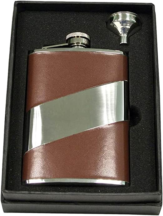 Amazon Com Visol Holiday Essential Ii Descent Brown Leather Liquor Flask Gift Set 8 Oz Silver Flasks