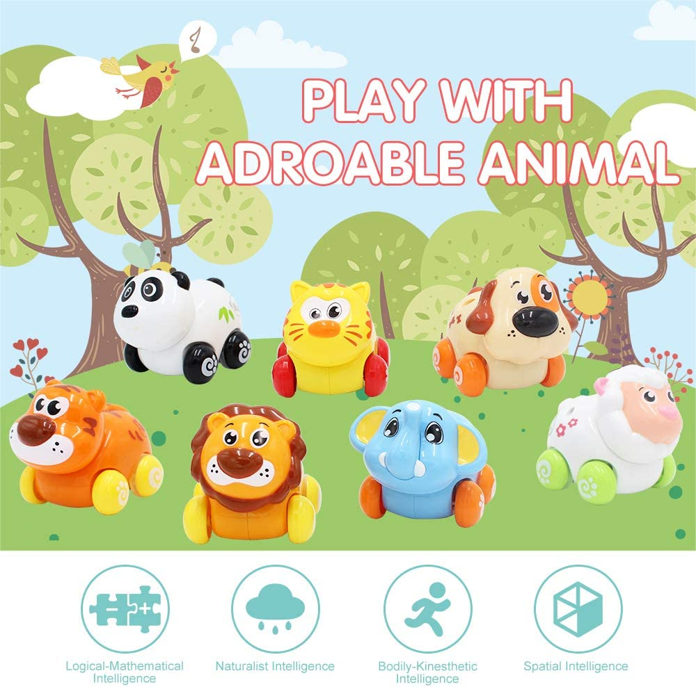 ANIKI TOYS Voitures alimentées par Push and go, Adorable Animal Farm Zoo Toy Hl376