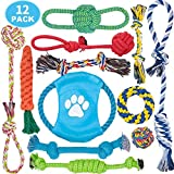 Dog Rope Toys, 12 Pack Dog Rope Toys for Aggressive Chewers, Dog Chew Toys, Dog Toys, Washable, Nearly Indestructible, 100% Natural Cotton Dog Rope Toy Set, Teething Toy for Small & Medium Dogs