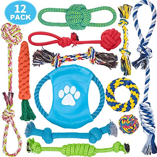 - DELOMO Dog Rope Toy, Dog Chew Toys, Rope Tug Toy with 100% Natural Cotton, Dog Toys Set