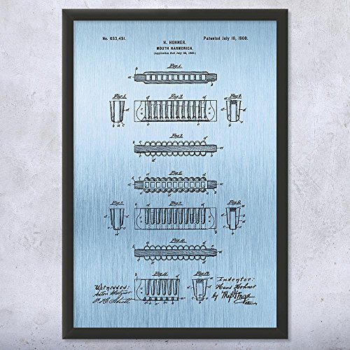 Patent Earth Framed Hohner Harmonica Print, Musician Gifts, Jazz Music, Band Leader, Blues Brothers, Folk Music, Recording Studio Blue Steel (12