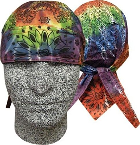 (ZIZI SPORTS SUPPLY Tie Tye Dye Paisley Rainbow Doo Rag Headwrap Skull Cap Sweatband)