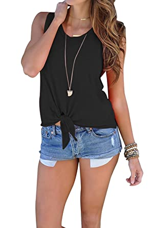 ebab6b56975937 Nulibenna Womens Tank Tops Knot Tie Front Beach Casual Solid Camis ...