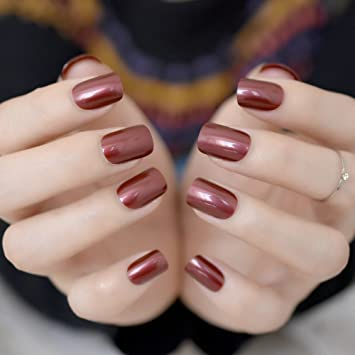Amazon Com Coolnail Red Wine False Nails Tips Solid Color Square