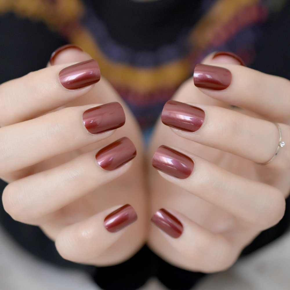CoolNail Red Wine False Nails Tips Solid Color Square Full Cover Nail Tips Artificial False Fake