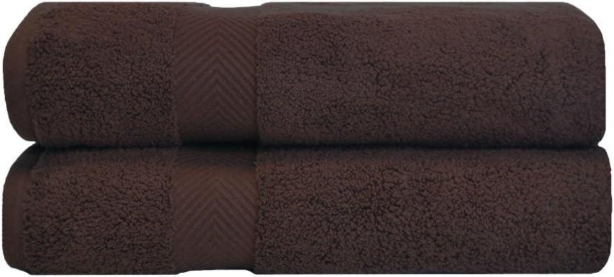 SUPERIOR Zero Twist 100% Cotton Towel Set - 2-Piece Set, Extra Soft Bath Towels, Long-Staple Cotton Towels, Espresso