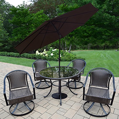 Oakland Living Ice Cooler Carts AZ90079T-90079S4-4005BN-4230BK-7-BK Tuscany All Weather Resin Wicker 7 Piece Dining Set with Table, Swivel Chairs, Tilt & Crank Umbrella, Iron Stand, Black/Coffee