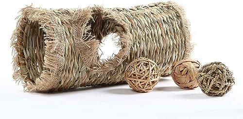 Niteangel Natural Hideaway Grass Tunnel Ball Toys for Rabbit Chichilla Guinea Pigs Degu Bunny, 13.5-inch