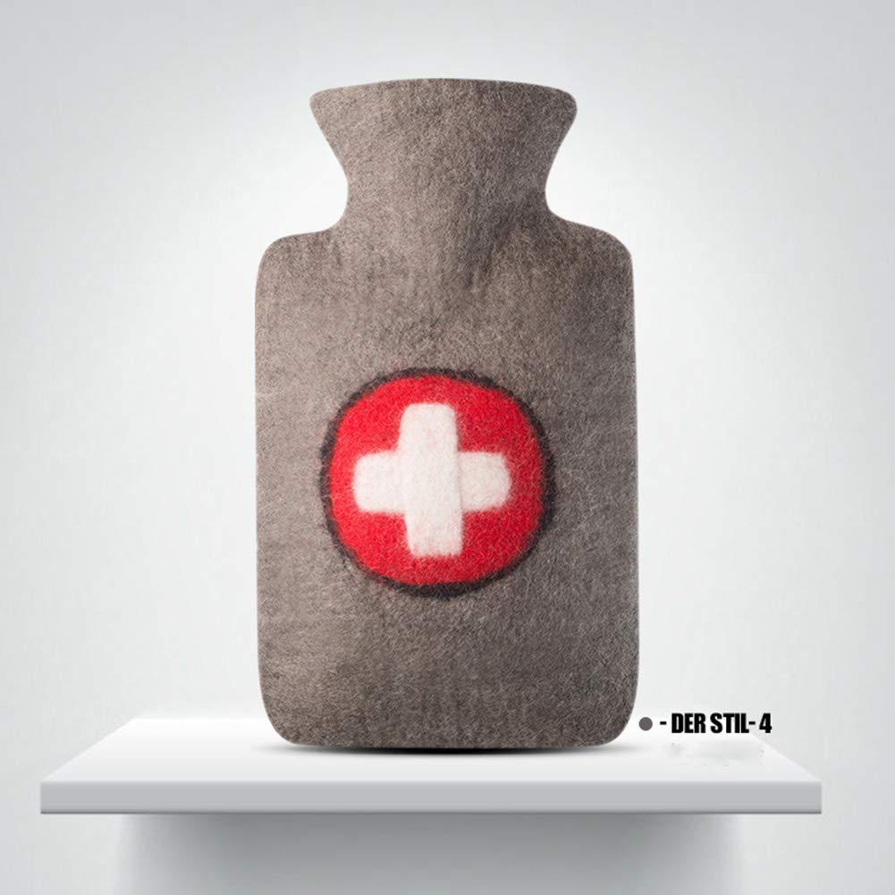 TD Großer Reiner Wollmantel-Wasser-Einspritzungs-Warmwasserflasche-explosionssicherer Warmwasserbereiter bequem (Farbe : 4)