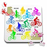 3dRose Alexis Design - Sport Bicycle - Colorful bicycle riders and motivational biking slogans on white - 10x10 Inch Puzzle (pzl_281052_2)