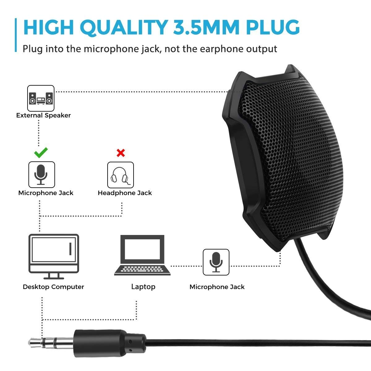 Black FOKEY Conference Microphone VoIP Calls Microphone for ...