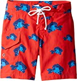 Oscar de la Renta Childrenswear Baby Boy's Fish Surfer Boardshorts (Toddler/Little Kids/Big Kids) Cherry/Ocean Swimsuit Bottoms