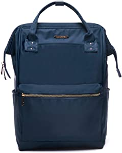 Lily & Drew Casual Travel Daypack School Backpack for Men Women and 14 Inch Laptop Computer, with Wide Doctor Style Top Opening (Navy Blue Nylon Medium)