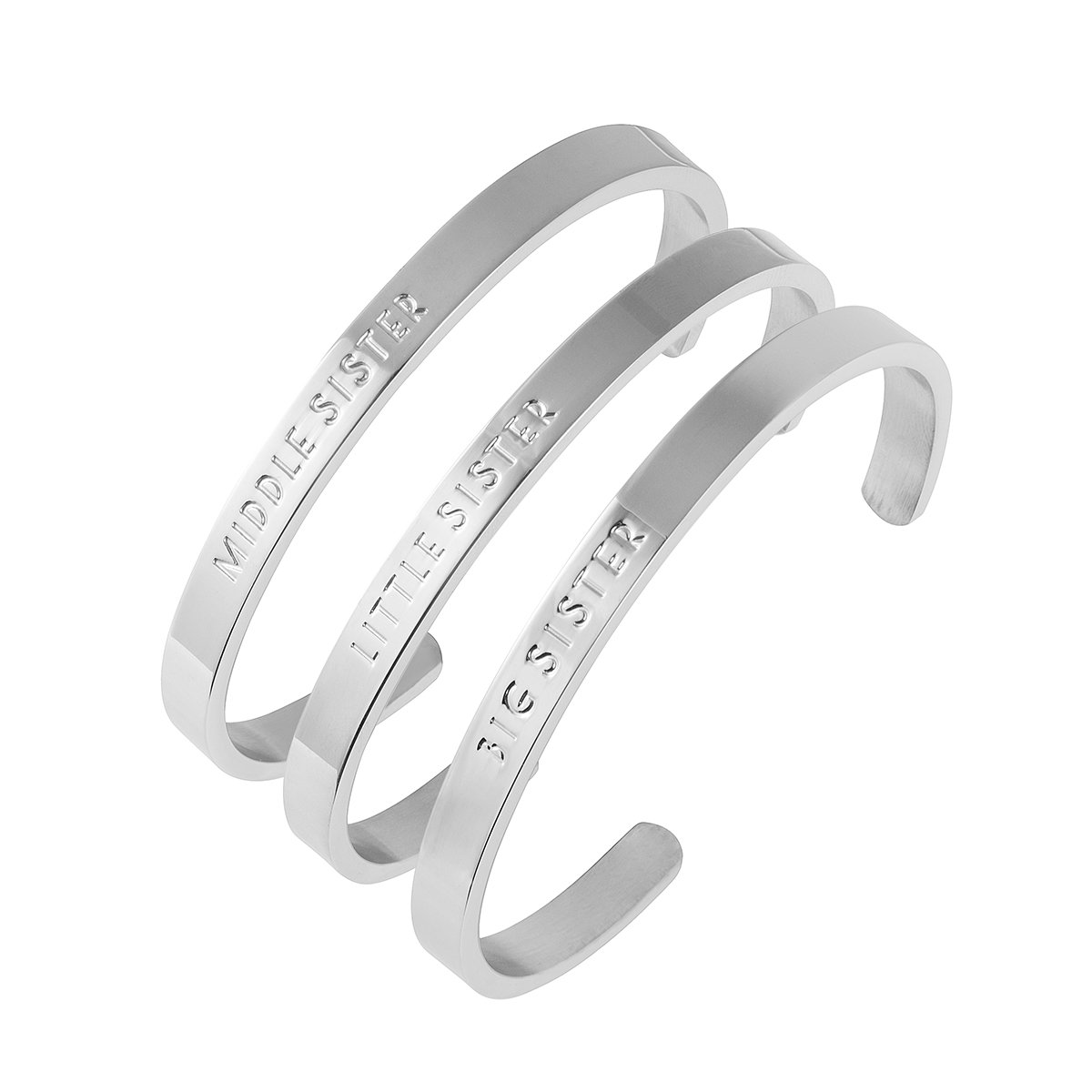 omodofo Sisters Cuff Bangle 3 Set Big Sis Middle Sis Little Sis Personalised Bracelet Family Friend Gift Jewelry for Girls OMO-SIS-3R