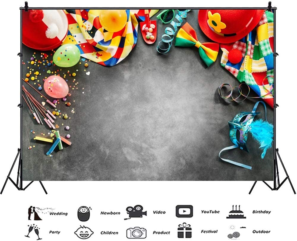 Carnival Party Backdrop 10x6.5ft Holiday Celebrate Grey Polyester Photography Background Colorful Balloons Candy Mask Fireworks Bowknot Cute Caps Birthday Portraits Shoot Photo Prop Decor Banner
