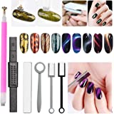 6Pcs Nail Magnet Tool Set Nail Magnet Pens Magnet Stick for 3D Magnetic Cat Eye Gel Polish Nail Art for Personal and Professional Salon
