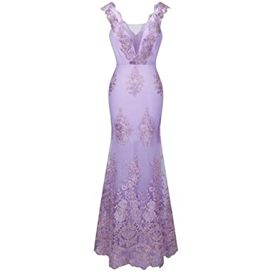 DRESS Womens V Neck Embroidery Lace Flower Mermaid Long Evening Pink 310 Light Lavender 4