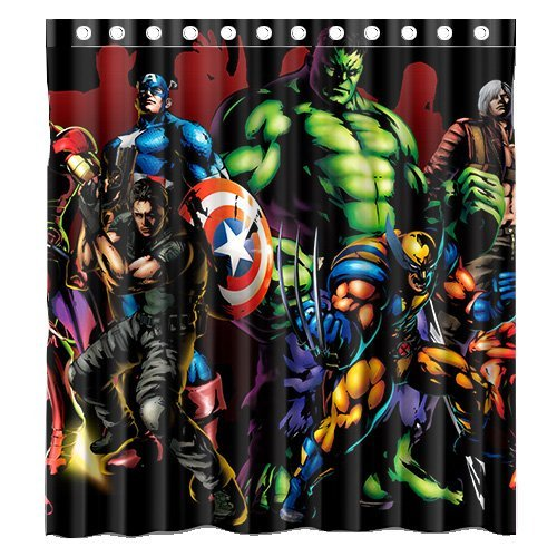 Custom Marvel Heroes The Avengers Movie 3 Waterproof Polyester Fabric Bathroom Shower Curtain Standard Size 66