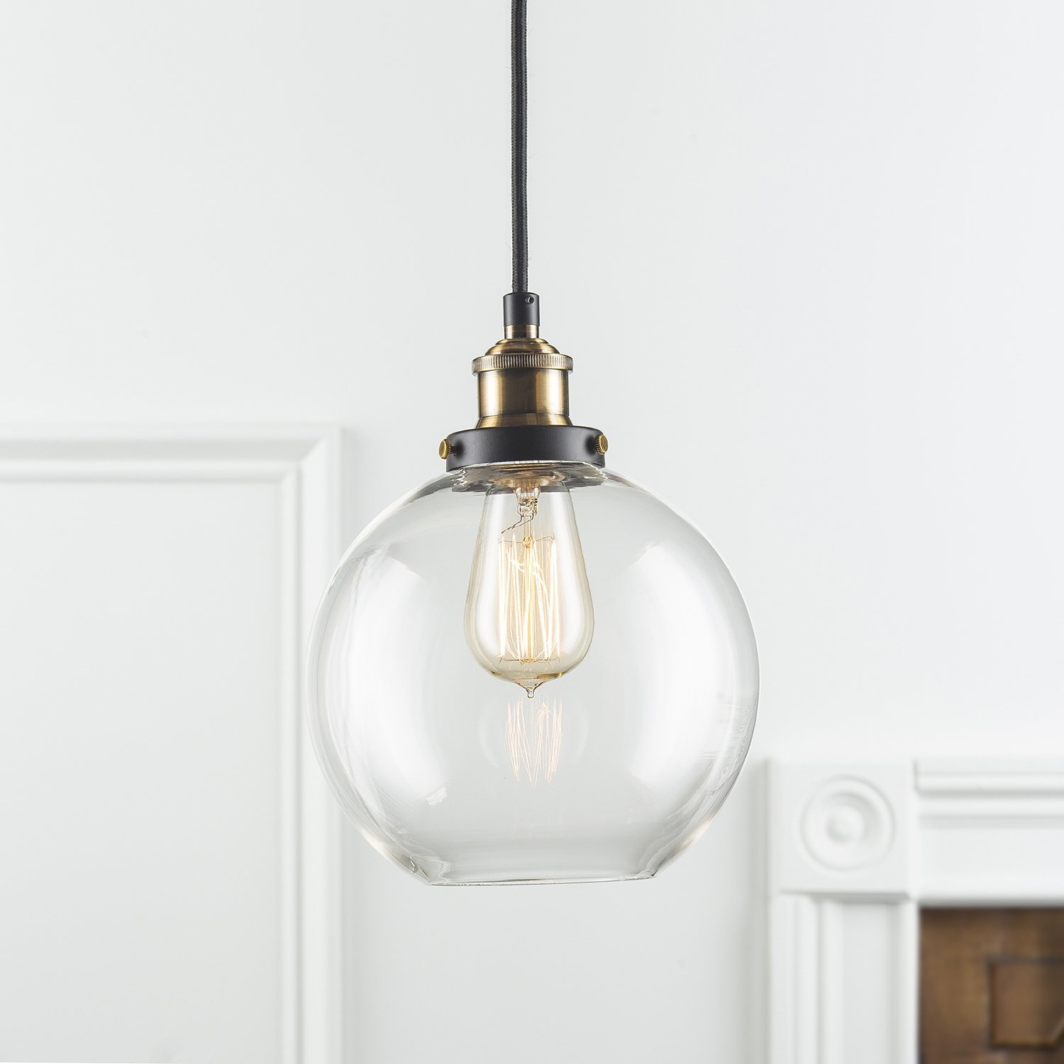 Frideko Vintage Pendant Light Retro Industrial Ball Glass Light Fitting for Hom