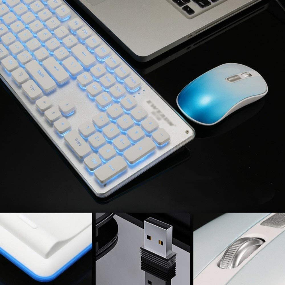 Wireless Keyboard and Mouse Set Desktop Whisper-Quiet Notebook Slim Thin Wireless Keyboard Mouse,for Computer PC Laptop