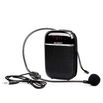 Retekess T3 Amplificador de Voz Portátil Bluetooth 10W Amplificador con Radio FM MP3 con Micrófono para Enseñanza, Coaching, Discurso (Negro): Amazon.es: ...