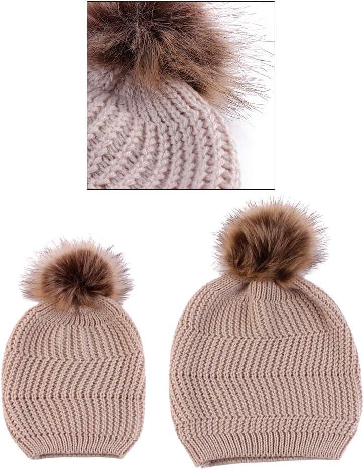 Khaki BESTOYARD Vertical Strip Parent-Child Knit Pullover Hats Cotton Hooded Hats Cotton Autumn Hats Cotton Casual Cap Winter Hats