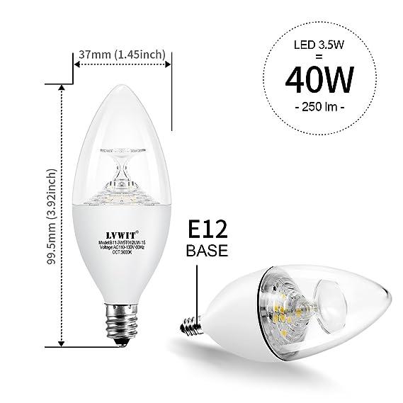Lvwit E12 Candelabra Base B11 Led Light Bulb 40w Equivalent 3000k