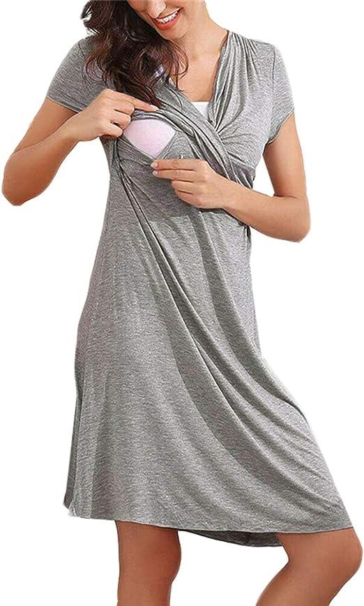 Camisón Premama Lactancia Pijama Embarazada de Vestido Maternidad Verano de Manga Corta Ropa de Dormir para Mujer: Amazon.es: Ropa y accesorios